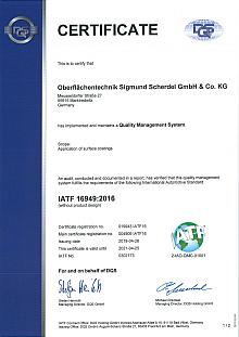 IATF 16949 (Oberflächentechnik Sigmund Scherdel GmbH)