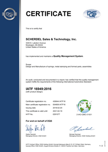 IATF 16949 (SCHERDEL Sales & Technology, Inc.)