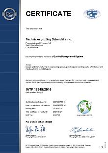 IATF 16949 (Technické pružiny Scherdel s.r.o.)